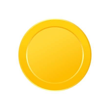 Gold coin icon set. Game win item. Token money badge. App interface design element. Cartoon profit collection. Virtual trophy sign. Vector illustration Vecteurs