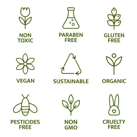 Natural and organic cosmetic line icons. Beauty product. Gluten and paraben free cosmetic. Allergen free badges. Non toxic logo. Skincare symbol. Eco, vegan label. Sensitive skin. Vector illustration