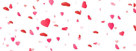 Heart confetti on long banner. Saint Valentine day background. International women celebration party. Birthday, wedding design elements. Romantic card. Honeymoon congratulation. Vector illustration