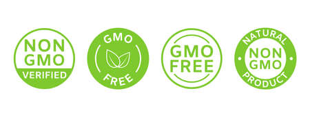 Non GMO labels. GMO free icons. Organic and natural cosmetic. Eco, vegan, bio. Healthy food concept. No GMO design elements for tags, product package, food symbol, emblems. Vector illustration 向量圖像
