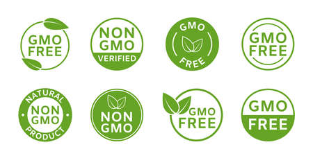 Non GMO labels. GMO free icons. Healthy organic food concept. No GMO design elements for tags, product package, emblems, stickers. Agriculture food symbol. Eco, vegan, bio stamp. Vector illustration