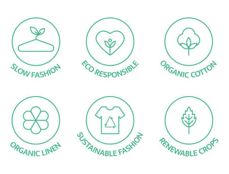 Sustainable fashion line icon set. Eco viscose product icon. Slow fashion badge. Organic cotton, natural dyes, renewable crop label. Fair trade. Conscious development. Vector illustration 向量圖像
