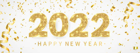 2022 Happy New Year greeting card with gold confetti. Luxury party template. Golden and white celebration design. Merry Christmas poster with text and light number decor. Vector illustration 向量圖像