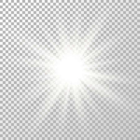 Glow light effect. Shine flash design. Star burst. Bright white flare. Sparkle sun beam. Magic blur ray. Party design element. Sunlight template. Spotlight concept. Explosion. Vector illustration