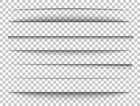Paper shadows set. Divider effect on transparent background. Frame page. Website edge. Border blank. Box shadow. Label shape. Shade tape. Realistic light effect. Vector illustration