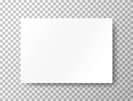 Blank mockup on transparent background. White sheet of paper. Realistic brochure A4. Notebook with place for text. Closed horizontal book, letter page. Empty page. Vector illustration