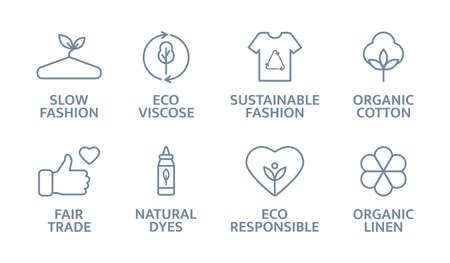 Sustainable clothes line icon set. Slow fashion logo. Eco viscose product badge. Organic cotton, natural dyes, renewable crops label. Fair trade. Conscious development. Vector illustration