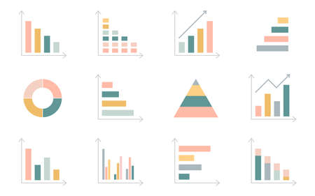 Graph chart icons set. Business data statistic. Financial bar sign. Pie chart diagram. Annual report presentation. Finance progress plan. Web interface. Infograph template. Vector illustration