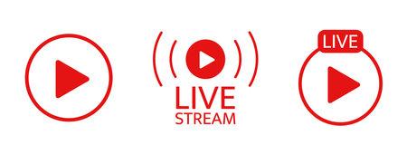 Live stream icon set. Broadcats online video. Tv show sign. Social media live chart. News frame. usic player template. Livestream radio. Online webinar button. Vector illustration
