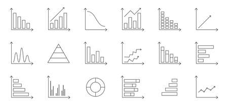 Graph chart line icons set. Business data statistic. Infographic template. Annual report presentation. Financial bar sign. Pie chart diagram. Finance progress plan. Web interface. Vector illustration