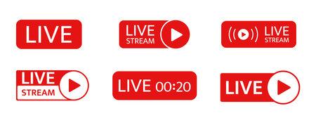Live stream icon set. Social media live chat. Online webinar button. Broadcast online video. Tv show sign. News frame. Music player template. Livestream radio. Vector illustration