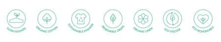 Sustainable clothes line icon set. Slow fashion. Eco viscose product label. Organic cotton, natural dyes, renewable crop badge. Conscious development. Fair trade. Vector illustration