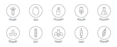 Allergen line icon big set. Feather, honey, gluten soy, pollen, gmo sesame, lactose, egg free. Organic and natural food labels. Allergy warning ingredients. Vector illustration