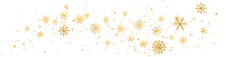 Snowflakes golden wave composition. Snow fall. Christmas gold celebration long banner. Winter design. Happy New Year card. Holiday background. Season greeting. Glitter luxury card.Vector illustration