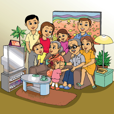 Family reunion at living room Illustration