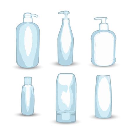 Assorted shampoo bottles shape Иллюстрация