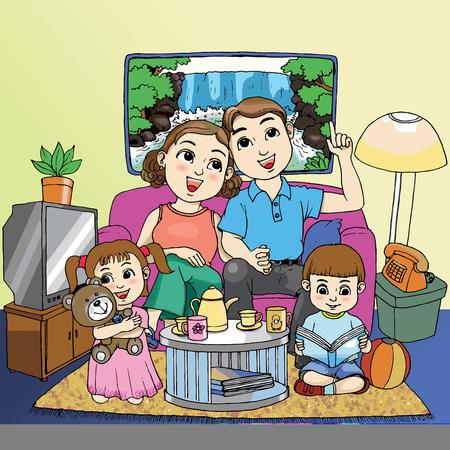 Liefhebbende familie in de woonkamer