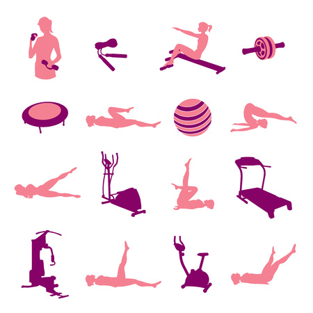 Fitness equipment icons