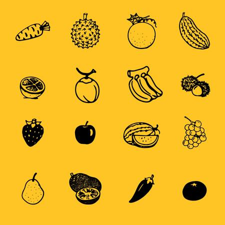 vector sketch of fruits & veggies
