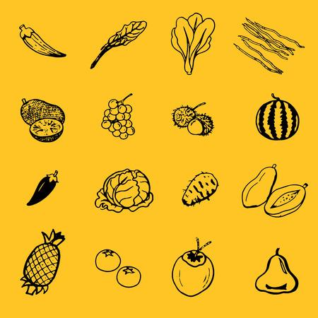 vector sketches fruits & vegetables