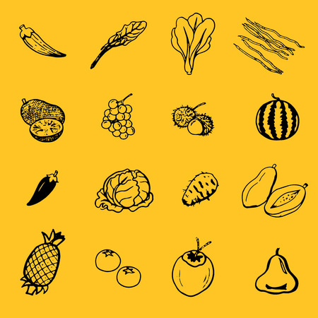 vector sketches fruits & vegetables