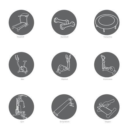 Fitness equipment icon set. Illustration