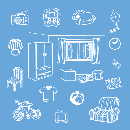 Things in bedroom vector illustration