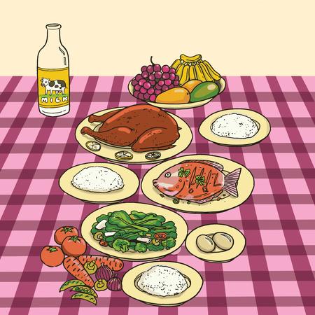 Nutrition food on table Иллюстрация