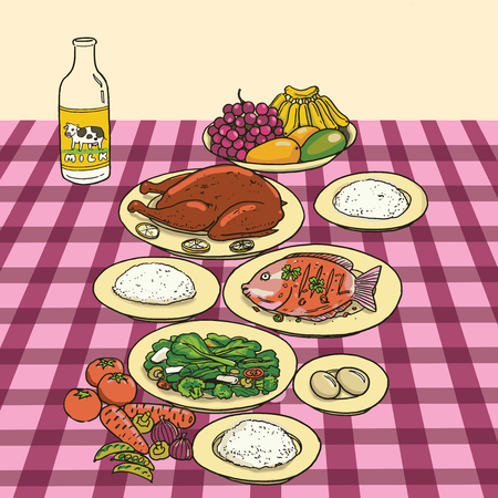 Nutrition food on table Illustration