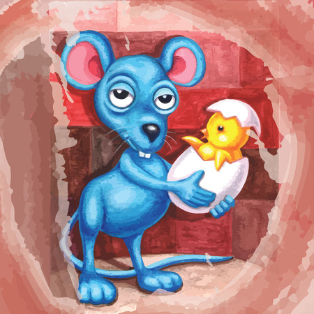 Imagination watercolor mouse holding cracked egg chick. fairytale blue mouse. Children illustration