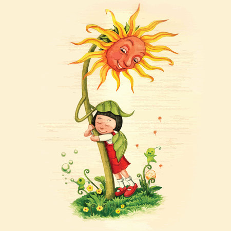 Artistic watercolor hand drawn fairytale sunflower hugging a girl with care and love. Children illustration.