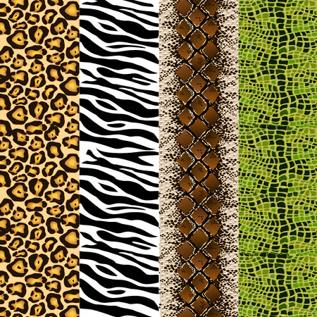 4 sets of animal skin pattern background, animal, zebra, snake, skin, texture, wildlife, turtle, underwater, lake, water, sea, ocean, wave, lines, shapes, graphics, colorful, nature, jungle, patterns, reptiles, illustration, crocodile, lion, tiger, leopard, vector, card, packaging, wrap, wrapping. strip, repeatation