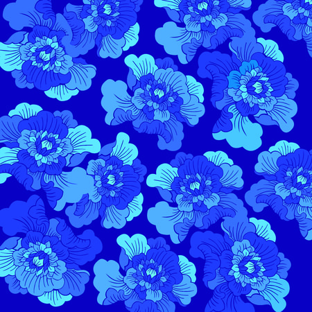 Seamless Blue Peony flower background, mudan flower, blue hue, flowers, chinese cultrure, decoration, art, vector, ocean blue, sky blue, dark blue, sea blue, mistery