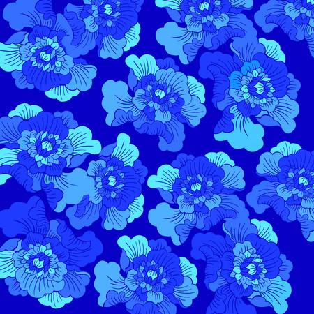 Seamless Blue Peony flower background, mudan flower, blue hue, flowers, chinese cultrure, decoration, art, vector, ocean blue, sky blue, dark blue, sea blue, mistery