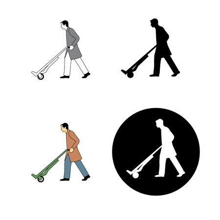 set of man pushing a trolley icon, working, worker, warehouse, weight, strong, icon, graphic, notice, pushing, hard, heavy, products, retail, factory, danger, staff