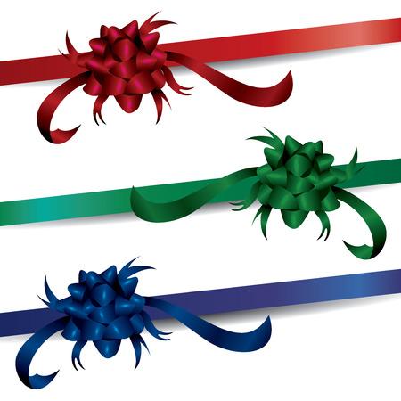Sets von luxuriösen Farbbändern, reich, luxuriös, dunkel, Farben, Pressent, Geschenk, Geschenke, Box, Verpackung, Geburtstag, Party, Wrap, Verpackung, Handwerk, Handwerk, Vektor, Illustration, rot, grün, blau, Bogen Schleife, Zubehör, Dekoration, dekorativ, Event, festlich, Urlaub, Glanz, Symbol, gebunden, fest, lebendig, Weihnachten, Seide, glänzend, Feier, Satin, Objekt, Knoten, Ferienzeit, Dekor Vektorgrafik