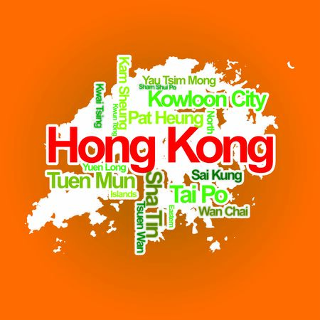 Hong Kong Map cities names travel tourism  イラスト・ベクター素材