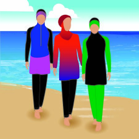 Set of coverall muslim swimwear