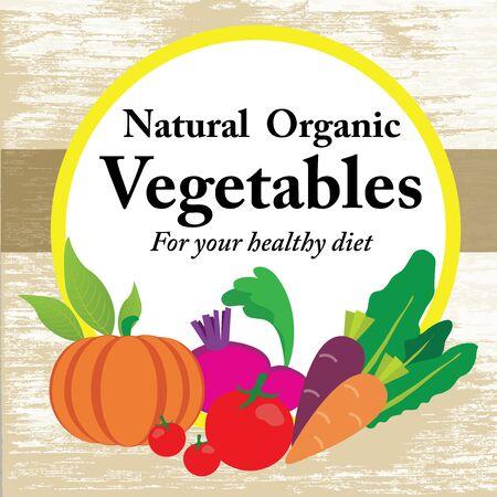 natural organic vegetable set label sticker