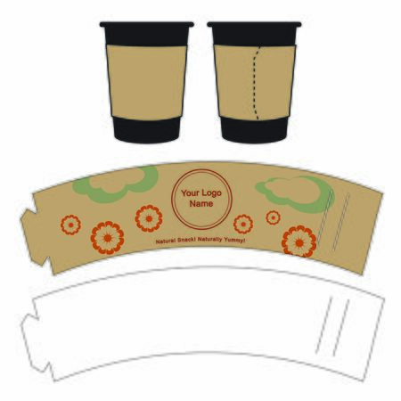 Cup sleeve holder grip label hand-insulator template design, making own sleeve for coffee, tea or any other hot beverage cup to save environemnt