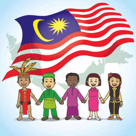 Celebrate Merdeka Day / Malaysia National Day / Independence Day illustration greeting. United Cultural Иллюстрация