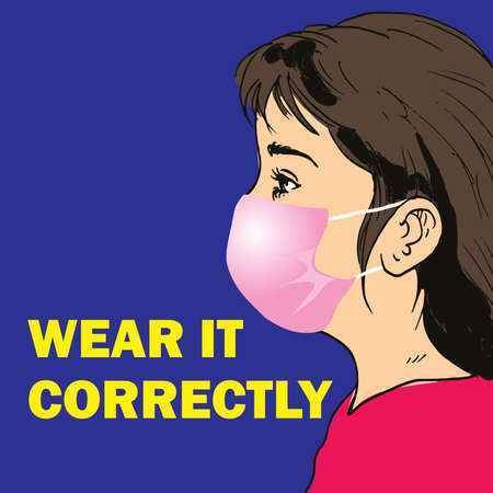 Vector illustration How to Wear medical face mask Correctly Иллюстрация