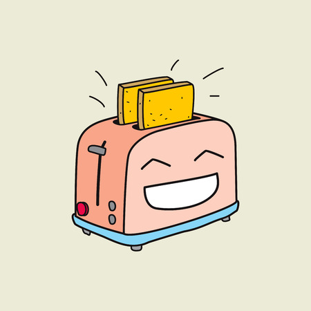 ready: Happy toaster is ready for breakfast