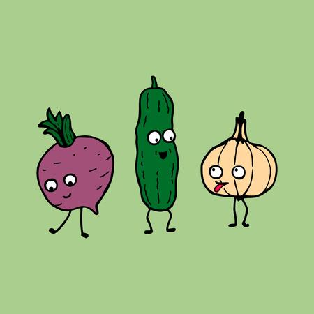 vegatables: Cartoon vegetables: cucumber, radish and garlic