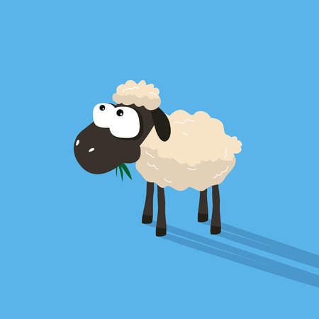 silly: Funny sheep cartoon with silly face expression.