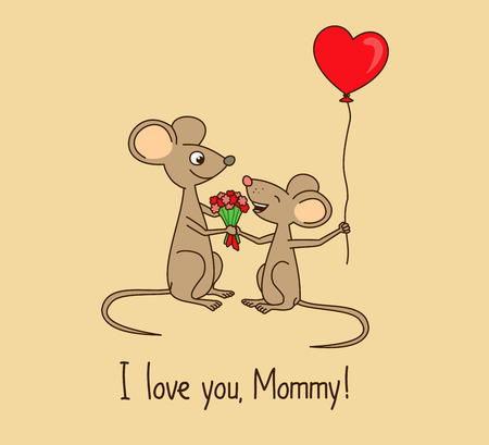 mummy: I love you, Mommy. Mothers day greeting card with cute cartoon mice.