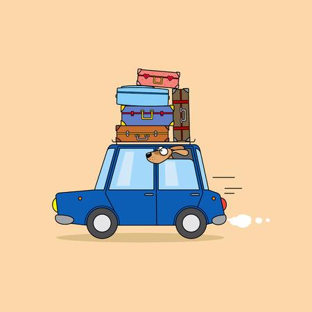 funny travel: Family travel by car. Funny cartoon illustration.