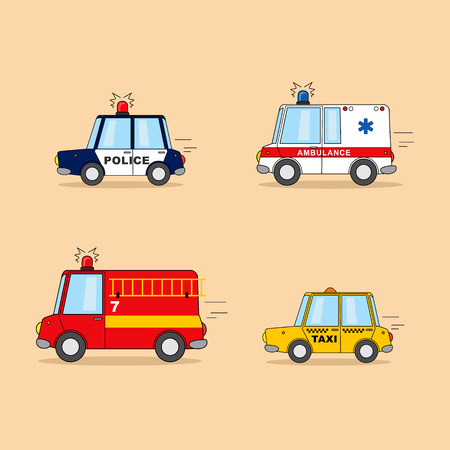 Set of cartoon cars. Police car, ambulance, firefighter truck, taxi.