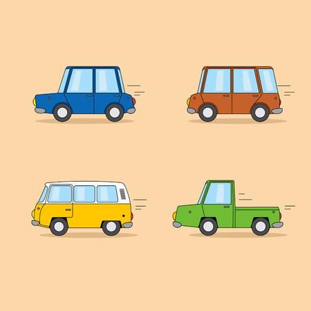 Set of funny cartoon cars: sedan, minivan, hippie van, pickup truck. Stock Photo