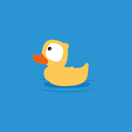 agachado: peque�o ejemplo lindo del dibujo animado de atenuaci�n. pato amarillo esponjoso.